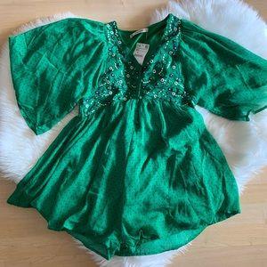 Zara Green Polka Dots XS Romper